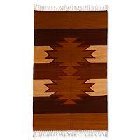 Zapotec wool rug, 'Chestnut Stars' (2.5x5) - Zapotec wool rug (2.5x5)