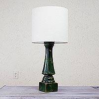 Pinewood table lamp, 'Green Rancho Rustic' - Handcrafted Pinewood Table Lamp