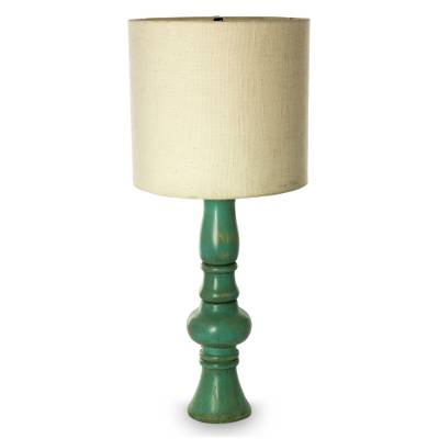 Colonial Aqua Artisan Crafted Pinewood Table Lamp