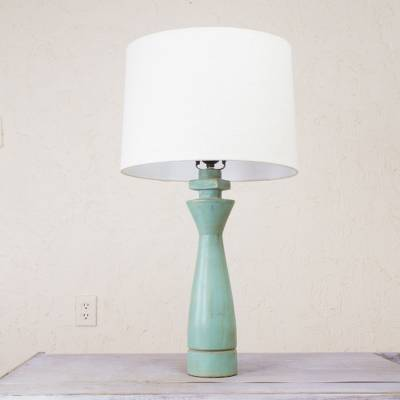 Fair Trade Rustic Wood Table Lamp Light Blue Base Colonial Sky
