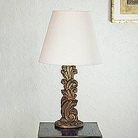Cedar table lamp, 'Garland of Light' - Cedar table lamp