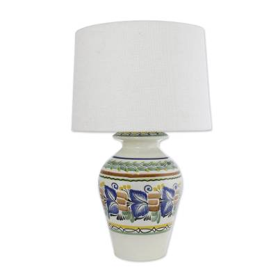 Majolica ceramic table lamp, 'Joyous Spring' - Majolica ceramic table lamp