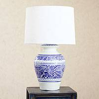 Majolica ceramic table lamp, 'Song of Talavera' - Majolica ceramic table lamp