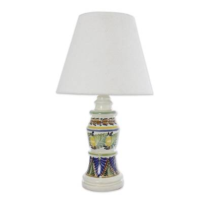 Majolica ceramic table lamp, 'Mexican Floral' - Majolica ceramic table lamp