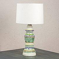 Majolica ceramic table lamp, 'Chapultepec Forest' - Majolica ceramic table lamp