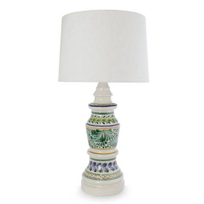 Majolica ceramic table lamp, 'Chapultepec Forest' - Majolica ceramic table lamp