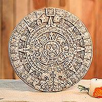 Ceramic plaque, 'Natural Aztec Sun Stone' - Aztec Calendar Ceramic Replica