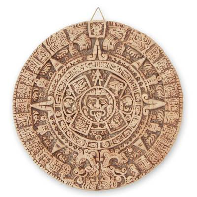 Ceramic plaque, 'Natural Aztec Sun Stone' - Ceramic plaque