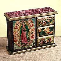 Decoupage chest, 'Beloved Guadalupe'