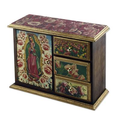 Decoupage chest, 'Beloved Guadalupe' - Decoupage chest