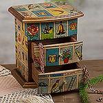 Mexican Bingo Decoupage on Wood Jewelry Box, 'Mexican Loteria'