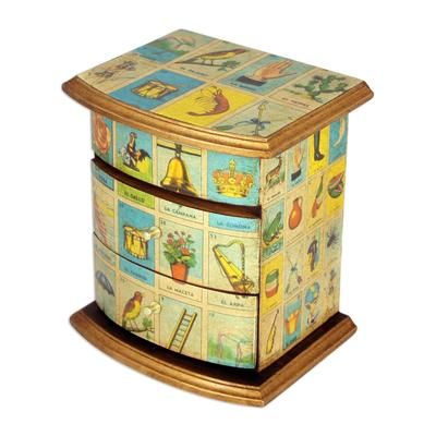 Decoupage jewelry box, 'Mexican Loteria' - Mexican Bingo Decoupage on Wood Jewelry Box