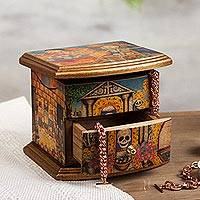 Decoupage jewelry box, 'Celebrating the Day of the Dead' - Unique Decoupage Multicolor Wood Jewelry Box