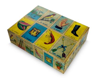 Decoupage decorative box, 'Mexican Loteria' - Mexican Bingo Decoupage on Wood Decorative Box