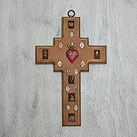 Pinewood cross, 'Devoted Heart' - Pinewood cross