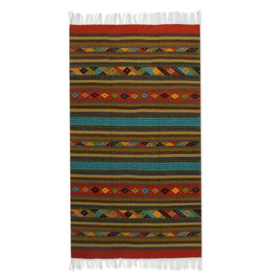 Zapotec wool rug, 'Fiesta in Oaxaca' (4x6.5) - Zapotec wool rug (4x6.5)