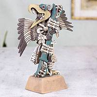 Ceramic sculpture, 'Eagle Warrior' - Ceramic sculpture
