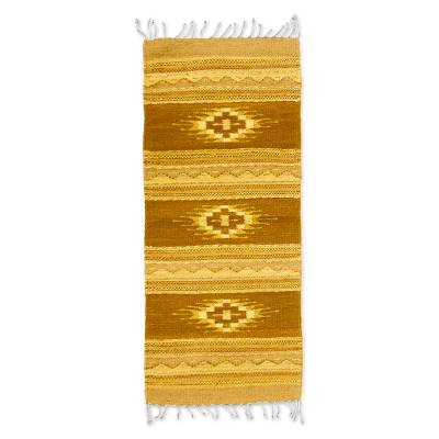Zapotec wool rug, 'Earth Stars' (2x3.5) - Zapotec wool rug (2x3.5)