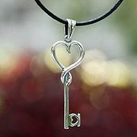 Sterling silver pendant necklace, 'Key to Love' - Unique Women's Heart Shaped Sterling Silver Leather Necklace