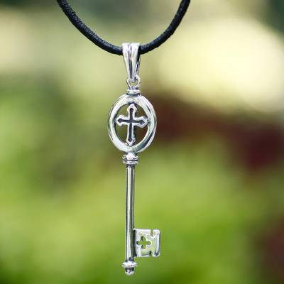 Sterling silver pendant necklace, 'Key to Faith' - Sterling silver pendant necklace
