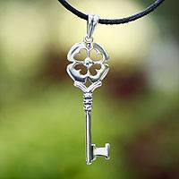 Sterling silver pendant necklace, 'Key to Luck' - Sterling silver pendant necklace