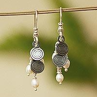 Cultured pearl waterfall earrings,