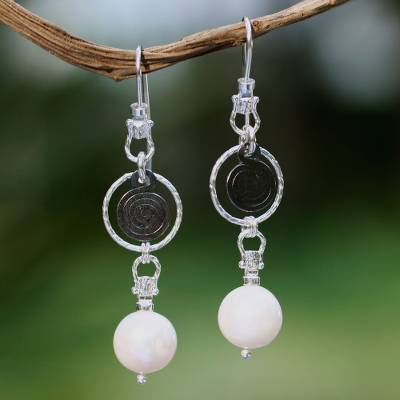 Cultured pearl dangle earrings, 'Popocateptl Rocks' - Cultured pearl dangle earrings