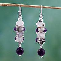 Cultured pearl and amethyst cluster earrings, 'Rainfall' - Cultured pearl and amethyst cluster earrings