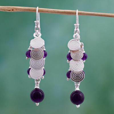 Novica Pearl and amethyst waterfall earrings, Charming in Violet