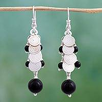 Cultured pearl and onyx cluster earrings, 'Rainfall' - Cultured pearl and onyx cluster earrings