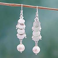 Cultured pearl cluster earrings,