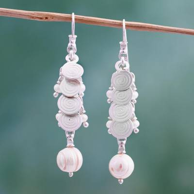 Cultured pearl cluster earrings, 'Rainfall' - Cultured pearl cluster earrings