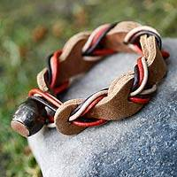 Braided leather bracelet, 'Crazy About You' - Stylish Bracelet Made of Interwoven Leather and Colorful Cor