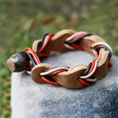 Braided leather bracelet, 'Crazy About You' - Brown Braided Leather Wristband Bracelet