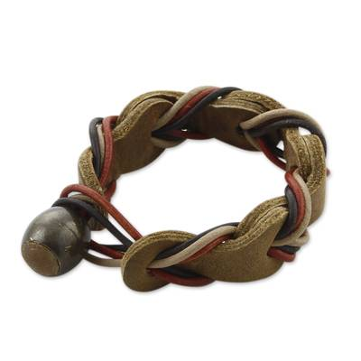 Brown Braided Leather Wristband Bracelet