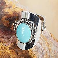 Turquoise wrap ring, 'Wisdom of the Sky' - Natural Turquoise and Sterling Silver Mexican Wrap Ring