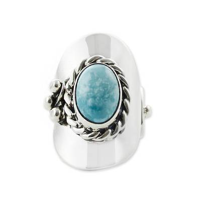 Turquoise wrap ring, 'Wisdom of the Sky' - Turquoise wrap ring