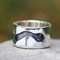 Men's sterling silver ring, 'Blacksnake'