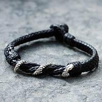 Men's sterling silver and leather bracelet, 'Serpent' - Men's sterling silver and leather bracelet