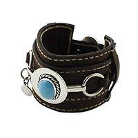 Leather wristband bracelet, 'Taxco Heroine' - Leather wristband bracelet