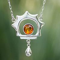 Amber pendant necklace, 'Leo Sun' - Unique Sterling Silver Sunshine Necklace with Amber