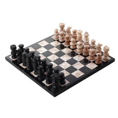 handcrafted mexican marble chess set (medium) - glorious battle