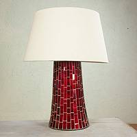 Glass mosaic table lamp, 'Ruby Glow' - Handmade Mexican Red Glass Mosaic Table Lamp