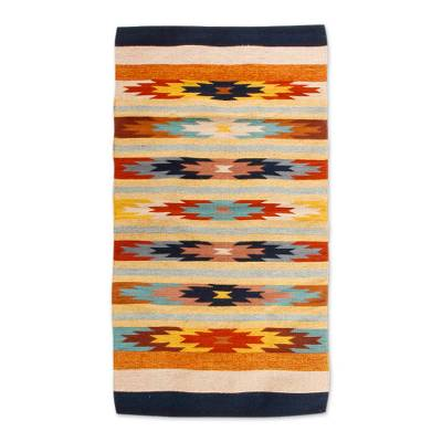 Zapotec wool rug, 'Star Flowers I' (2.5x5) - Zapotec wool rug (2.5x5)