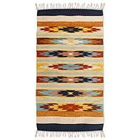 Zapotec wool rug, 'Star Flowers II' (2.5x5.5) - Zapotec wool rug (2.5x5.5)