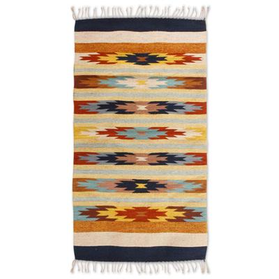 Zapotec wool rug, 'Star Flowers II' (2.5x5.5) - Zapotec wool rug (2.5x5.5)