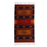 Zapotec wool rug, 'Night in the Sierra' (2.5x5) - Zapotec wool rug (2.5x5)