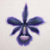 Steel wall art, 'Tropical Orchid' - Steel wall art