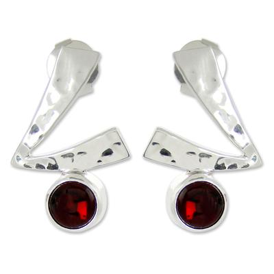 Garnet button earrings, 'Life Script' - Garnet button earrings