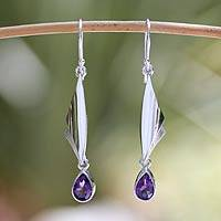 Amethyst dangle earrings, 'On Silver Wings'